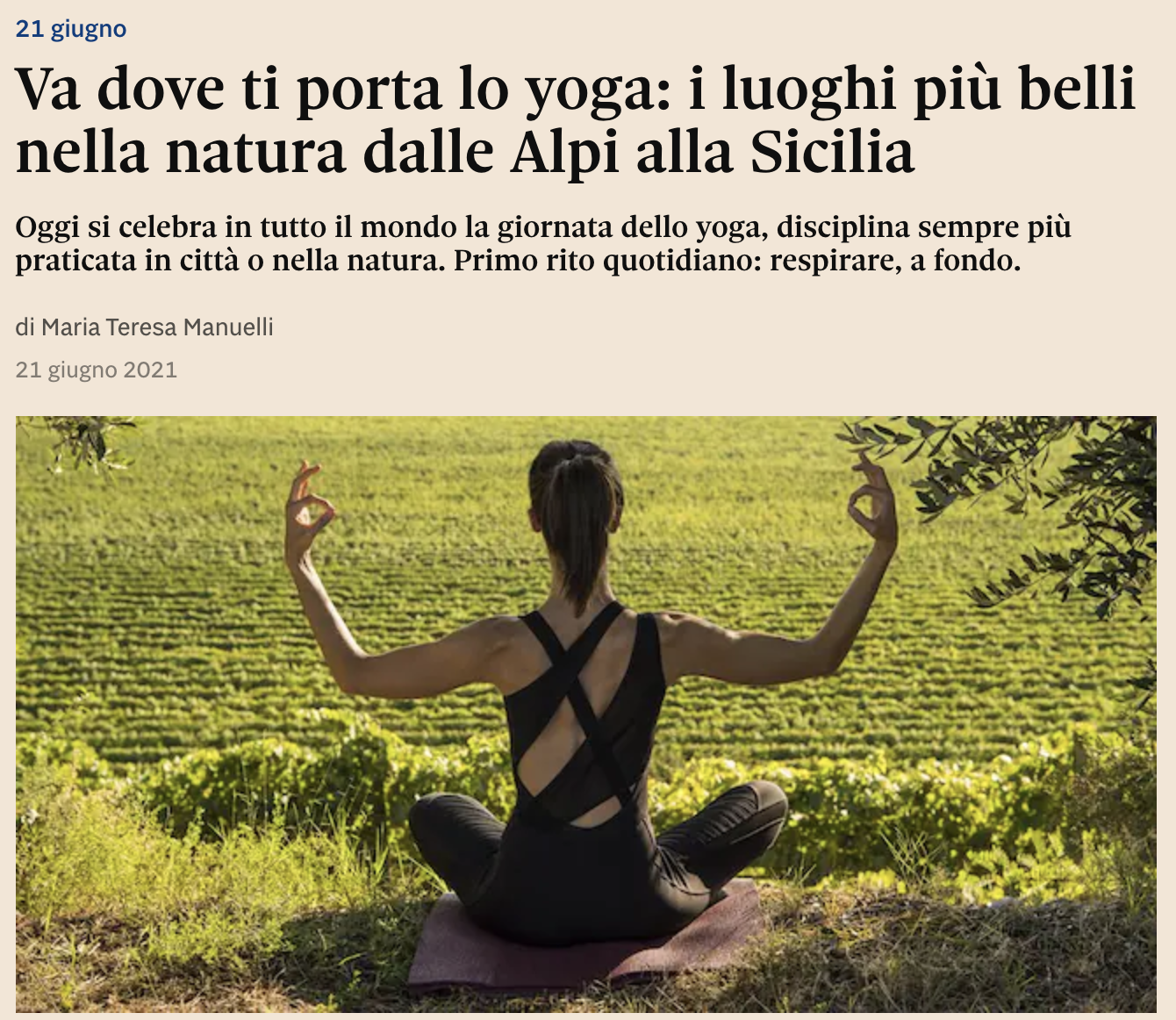 Va dove ti porta lo yoga: i luoghi più belli nella natura dalle Alpi alla Sicilia