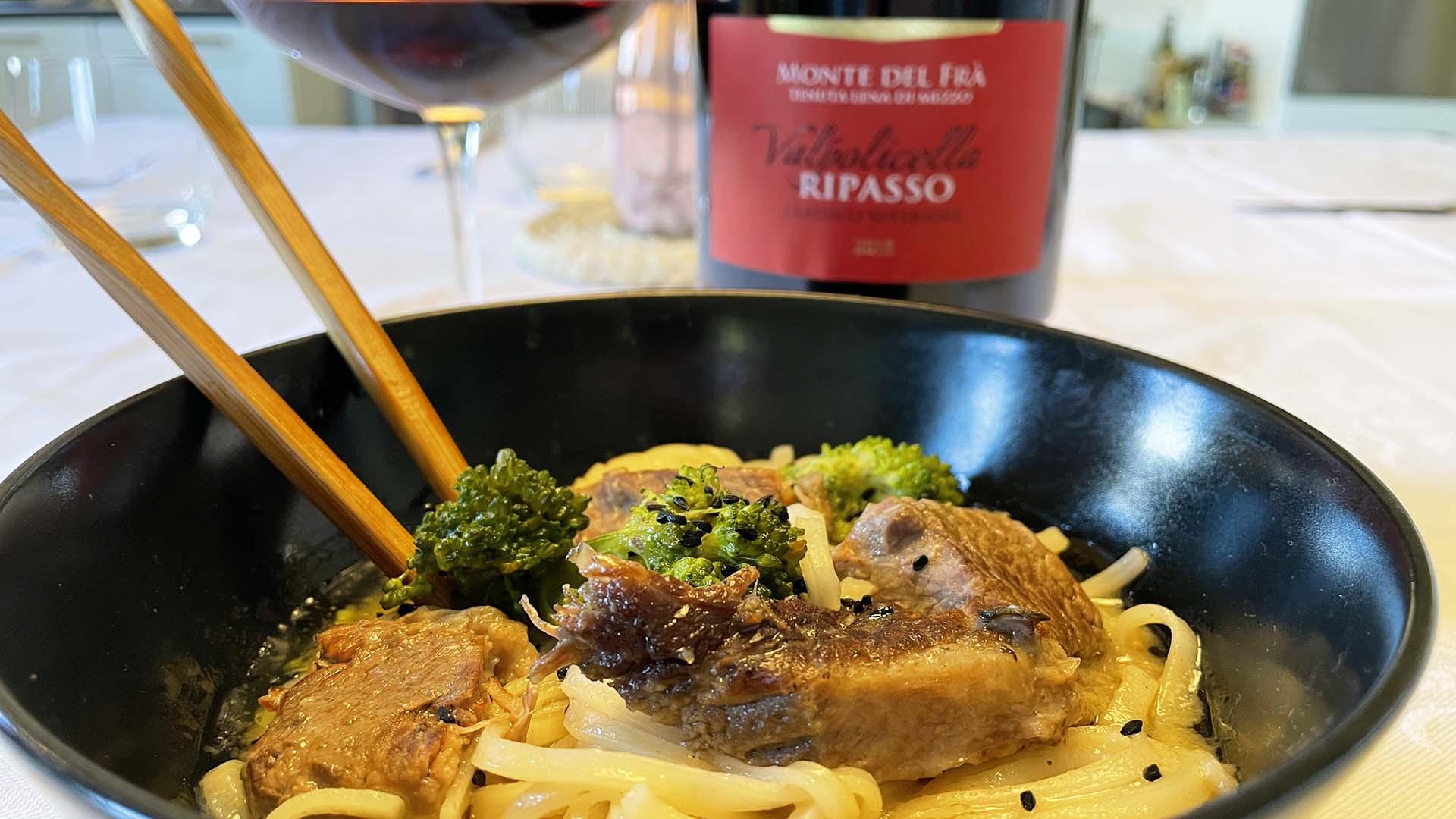 Monte del Frà Pairings: Valpolicella Ripasso DOC e Ramen di manzo con Noodles e verdure